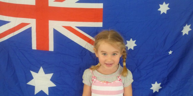 Girl with Australian flag